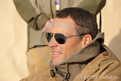 Lance Armstrong with the Troops Editorial Image