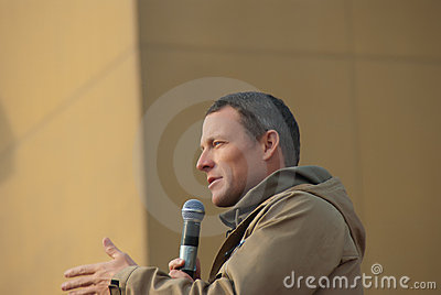Lance Armstrong with the Troops Editorial Stock Image