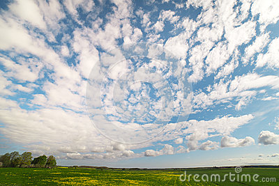 Land and clouds.