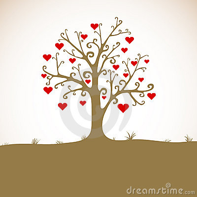 Land, grass, tree with hearts