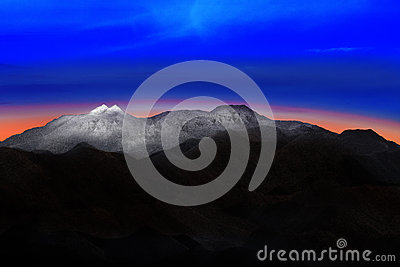 Land scape of snow mountain hill with beautiful dramatic colorfu