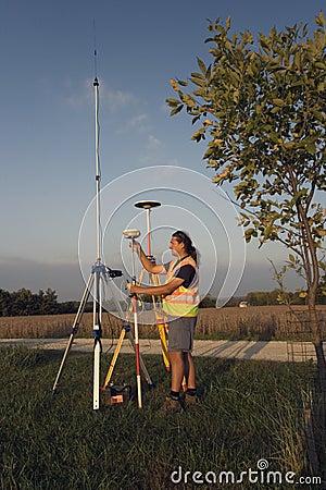 Land surveyor working with GPS