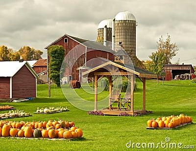 Landbouwbedrijf in de herfst