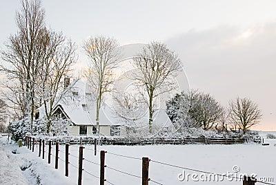 Landbouwbedrijf in Sneeuw
