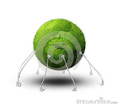 Landed green planet