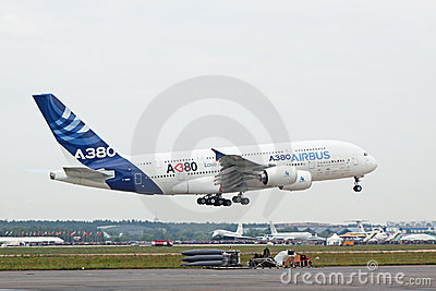 Landing A380 Editorial Stock Photo