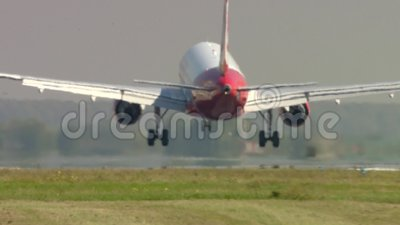 Landing Airliner in Otopeni Bucharest stock footage