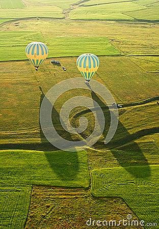Free Landing Balloon. Goreme, Cappadocia, Turkey. Stock Photography - 57678632