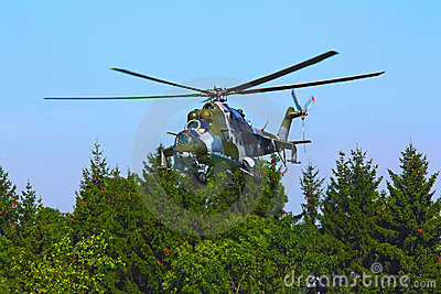 Landing a military helicopter