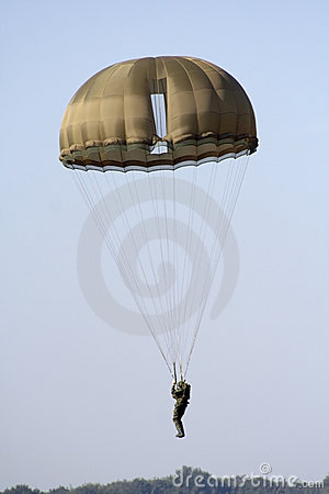 Landing military parachutist