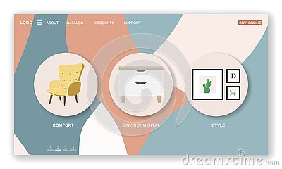 Landing page template of furniture store. Cozy home interior in Scandinavian with houseplant. Vector illustration in flat cartoon Vector Illustration