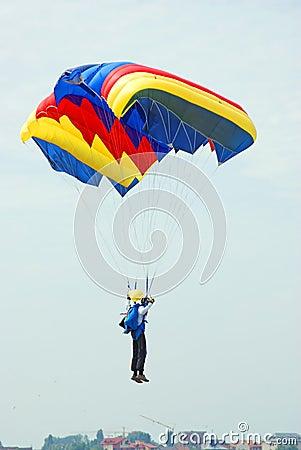 Free Landing Parachutist Stock Images - 16192244