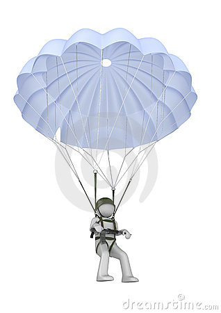Landing paratrooper with rifle