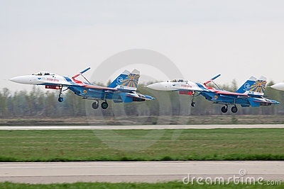 Landing SU-27 Editorial Stock Photo