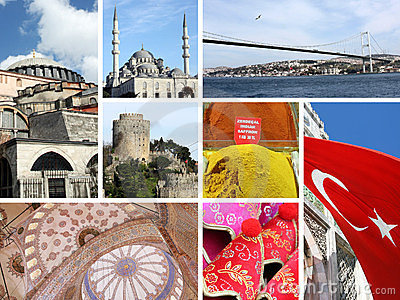 Landmark collage of Istanbul, Turkey