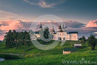 Landmark Ferapontov Monastery on hill at sunset