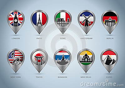 Landmark pins of the world