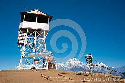 Landmark at the top of Poonhill peak, Nepal