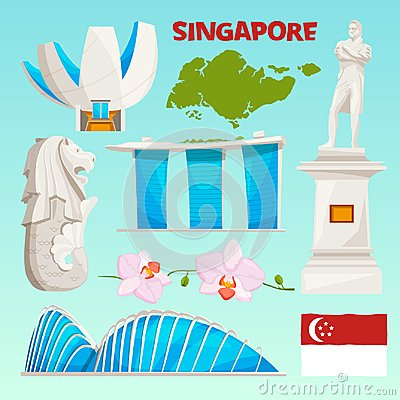 Landmarks icons set of singapore. Cartoon cultural objects isolate on white Vector Illustration