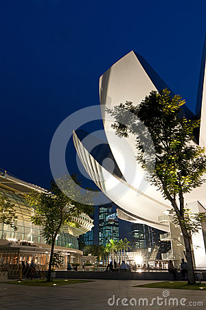 Landmarks in Singapore at dusk