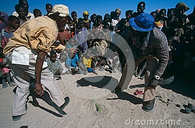 Landmine awareness in a camp in Angola. Editorial Photo