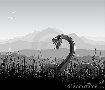Landscape with angry snake