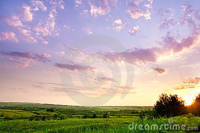 Landscape with a beautiful sky