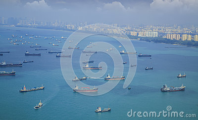 Landscape from bird view of Cargo ships
