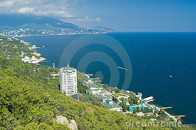 Landscape of the Black Sea resort shore