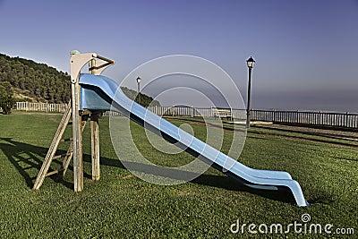 Landscape with blue slide