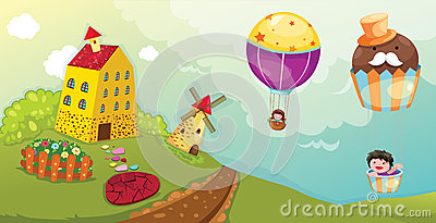 Landscape boy and girl riding hot air balloon
