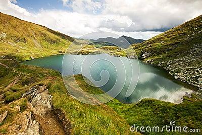 Landscape from Capra Lake in Romania and Fagaras m