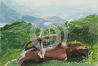 Landscape with car - watercolour