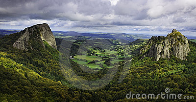 Landscape in the Central Massif in France