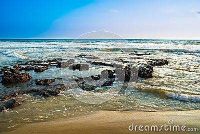 Landscape of the coast of Varkala. India