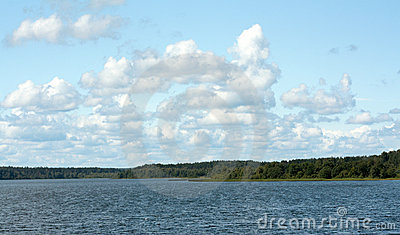 Landscape cumulous cloud on lake