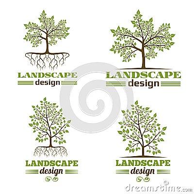 Landscape design company emblems. Tree with roots logo Vector Illustration