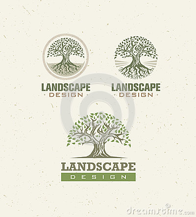 Free Landscape Design Creative Vector Concept. Tree With Roots Inside Circle Organic Sign Set On Craft Paper Background. Stock Photography - 87344262