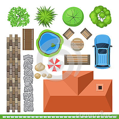 Free Landscape Elements For Project Design, Top View Stock Photography - 71499672
