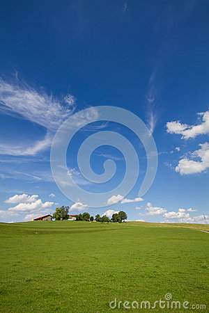 Landscape with farm house in Bavaria, GER