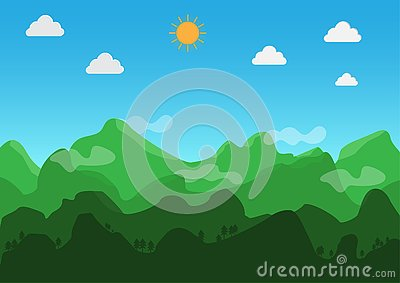 Landscape flat design. During the day, the weather is clear. Vector. Illustration. Vector Illustration