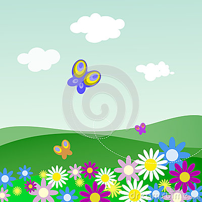 Landscape with flowers and butterflies