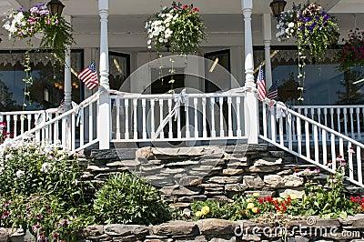 Landscape flowers and porch steps