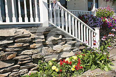 Landscape flowers and porch steps