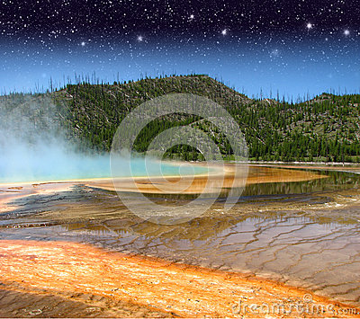 Landscape and Geysers of Yellowstone NP