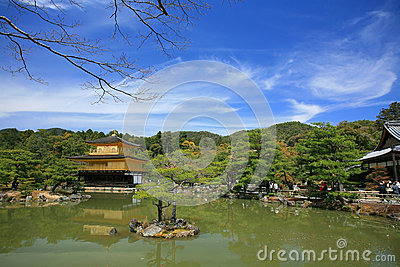 Landscape of Golden Pavilion temple, Kinkakuji