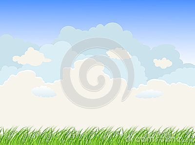 Landscape with grass sky and clouds Vector Illustration