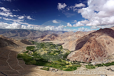 Landscape with green valley in Himalayas