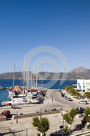 Landscape of harbor Adamas Milos