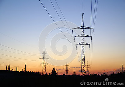 Landscape with high-voltage line